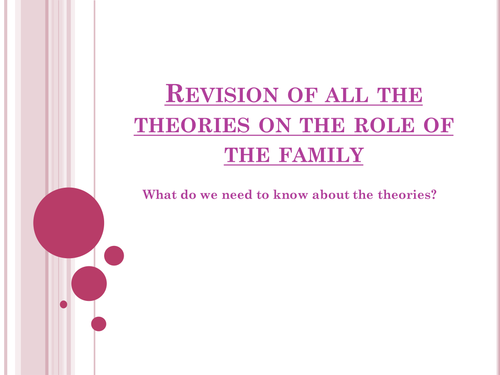 Revision of all the theories on the role of the family