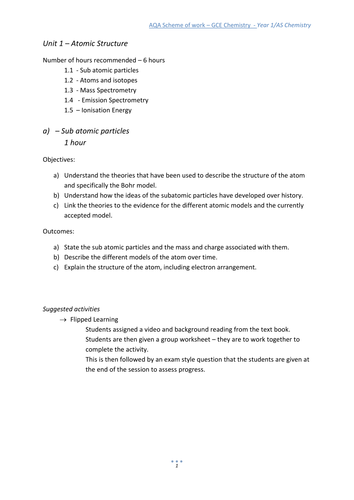 AQA Chemistry year 1/AS unit 1 flipped learning approach SOW