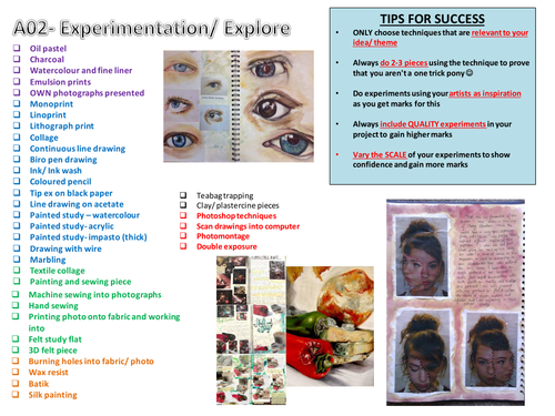 List of Art experimentation techniques student tick for self study or guided workshops