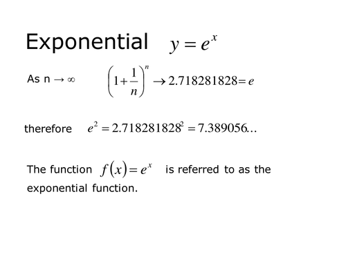 the exponential function essay Logarithmic and exponential functions inverse relations exponential functions exponential and logarithmic equations one logarithm the logarithmic function with base b is the function y = logb x b is normally a number greater than 1 (although it need only be greater than 0 and not equal to 1).