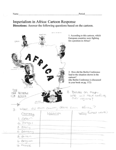 Imperialism in Africa/ Scramble for Africa worksheet-What does each country want?