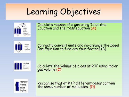OCR A Level Chemistry A New Spec (from Sept 2015) - Volumes and Ideal Gas Equation lesson