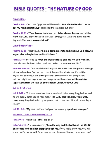 Eduqas Component 2 Christianity Bible Quotes