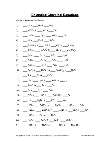 BALANCING CHEMICAL EQUATIONS WORKSHEET 6 by gbengagbang - Teaching ...