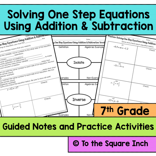 Solving One Step Equations Notes Using Addition and Subtraction