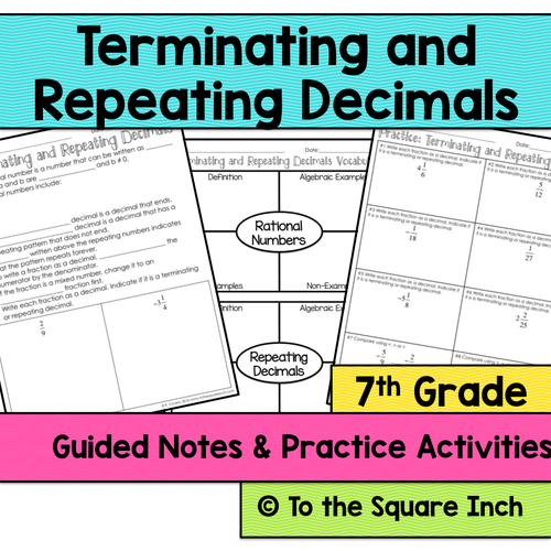 Terminating and Repeating Decimals Notes by katembee Teaching – Terminating and Repeating Decimals Worksheet