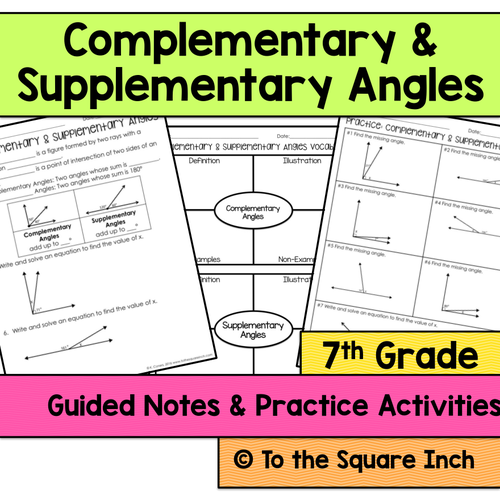 Complementary and Supplementary Angles Notes