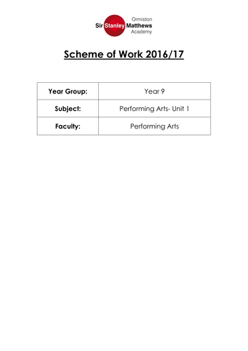 Performing Arts Entry/Level 1 Unit 1- Introduction to the Performing Arts