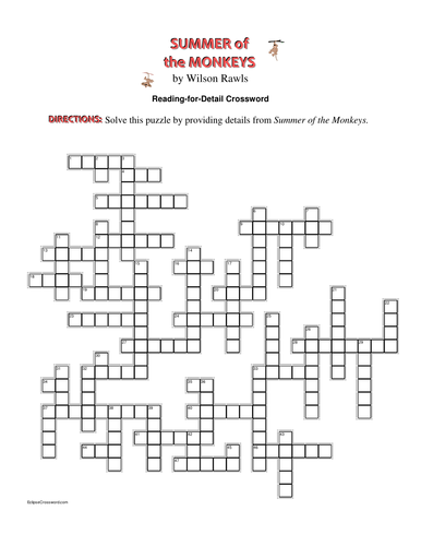 Summer of the Monkeys: Reading-for-Detail Crossword—50