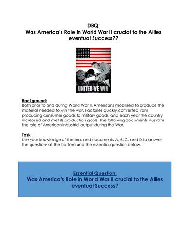 World War II: DBQ: Was America's Role in World War II