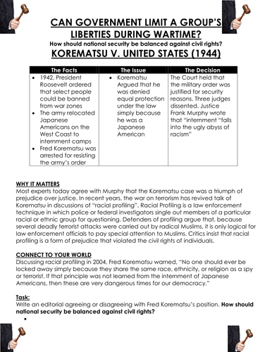 World War II: KOREMATSU V. UNITED STATES - CAN GOVERNMENT LIMIT A ...
