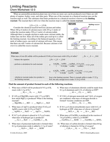 Limiting Reagents Worksheet By Archymist Teaching