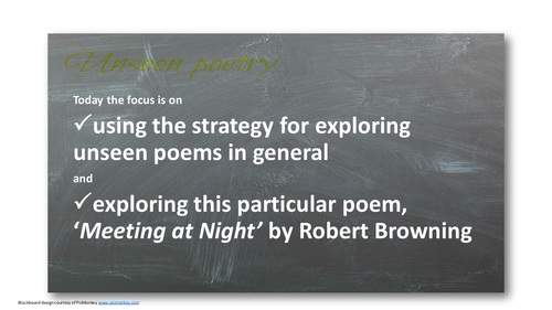 Love through the ages : Unseen poetry 2 - 'Meeting at Night' by Robert Browning; AQA