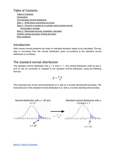 Inverse Normal Distribution (finding mean or standard deviation)