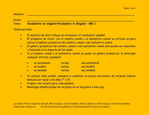 Vocabulario en singular/Vocabulary in Singular: ABC 1