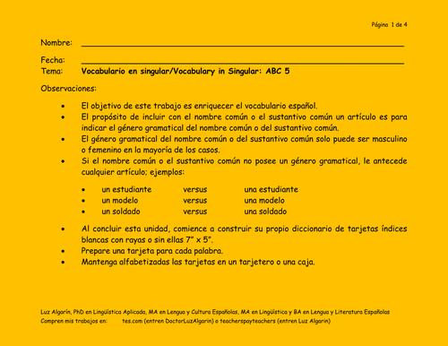 Vocabulario en singular/Vocabulary in Singular: ABC 5