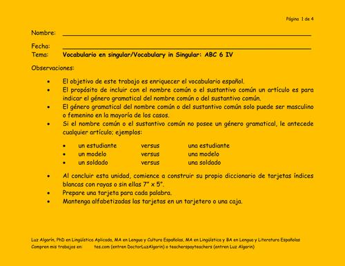 Tema:Vocabulario en singular/Vocabulary in Singular: ABC 6 IV