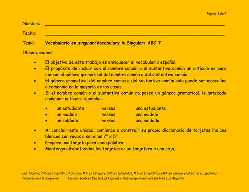 Tema:Vocabulario en singular/Vocabulary in Singular: ABC 7