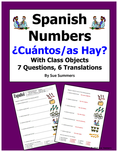 Spanish Numbers and Classroom Objects Worksheet - Cuantos Hay by ...