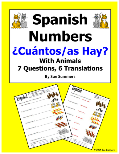 Spanish Numbers And Animals Worksheet Cuantos Hay By