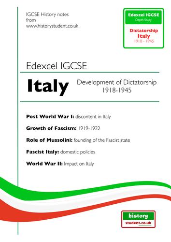 Edexcel IGCSE Italy 1919-43