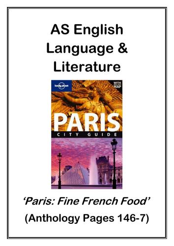 AS English Language and Literature Paris Anthology: 'Fine French Food'
