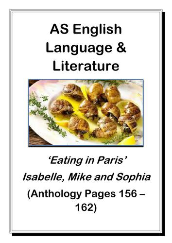 AS English Language and Literature: Paris Anthology Text Activity