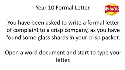 ICT Formal Letter Writing Cover/One off Lesson