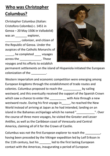 Who Was Christopher Columbus Cloze Activity By Sfy773 Teaching