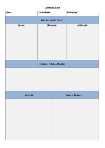 SEN Learner Profile Template + Weekly Log and Behavioural Issues Report Sheet