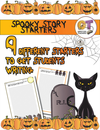 Spooky Stories - 9 Narrative Writing Prompts, colorful border, writing lines
