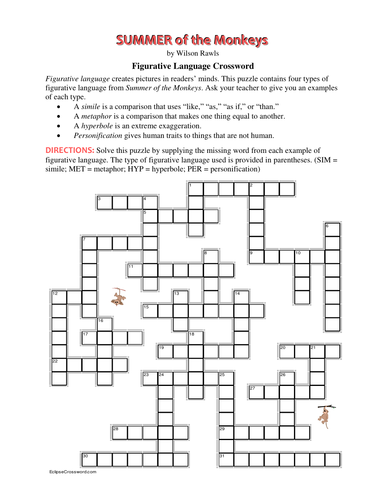 Summer of the Monkeys Figurative Language Crossword—Every ...