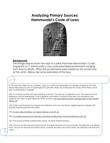 """an analysis of the hammurabis code of laws 1 laws and rights: from code of hammurabi to us constitution 6th grade developed for library of congress midwest region """"it's elementary: teaching with primary sources"""" 2011 by carrie weber."""