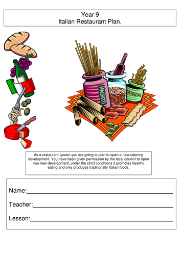 KS3 Itallian Resturant Work Book/Sheets Food Technology