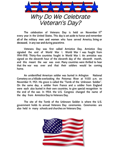 Veterans Day Comprehension Sheet