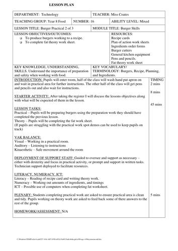 KS3 Food Technology Burgers SOW 4  Full written lesson plans.