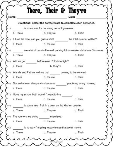 There, Their, and They're Worksheet by Happyedugator - Teaching ...
