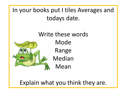 Averages Lesson for Low Ability Year 7