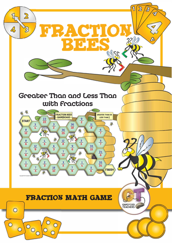 Fraction Bees: Greater Than or Less Than Game