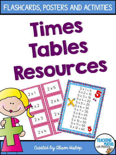 Timestables Flash Cards Posters and Activities