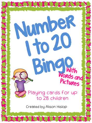 Number 1 to 20 Bingo with Words and Pictures