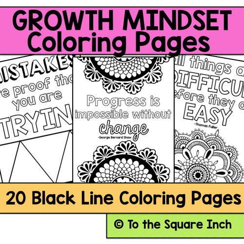 Growth Mindset Coloring Pages By Katembee
