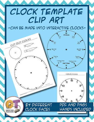 Clock Template Clip Art - Blank ones included, PNG for worksheets