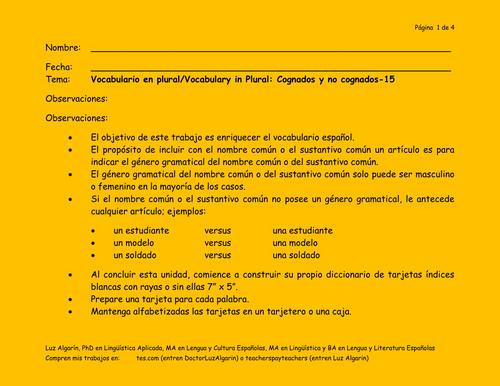 Tema:Vocabulario en plural/Vocabulary in Plural: ABC 15