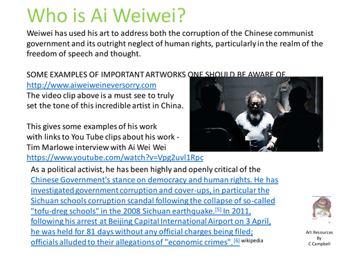 Who is Ai Weiwei?  A presentation of some of his key works and video clips.