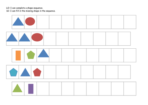 Pattern Worksheets : repeating pattern worksheets for early years ...