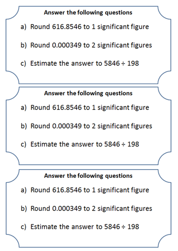 Rounding to significant figures and estimating