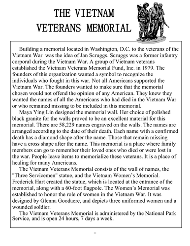 Vietnam Memorial Reading Comprehension Sheet for Veteran's Day