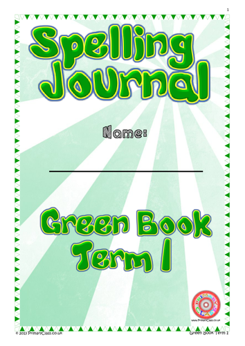 Spelling Journal - Green Book Term 1 - Year 1 (Age 5/6) National Curriculum 2014