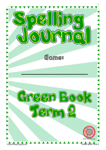 Spelling Journal - Green Book Term 2 - Year 1 (Age 5/6) National Curriculum 2014